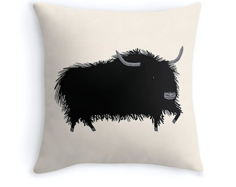 """THE YAK - illustrated Cushion Cover / Throw Pillow (16"""" x 16"""") by Oliver Lake - iOTA iLLUSTRATiON"""