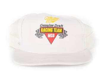 Vintage Miller Genuine Draft Racing Team Trucker Cap / White Nascar Trucker Hat Cap / Trucker Cap / Baseball Cap / Unique Baseball Hat
