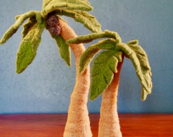Palm Tree - Needle Felted Palm Tree - Wool Tree Sculpture - Pose-able Palm Tree