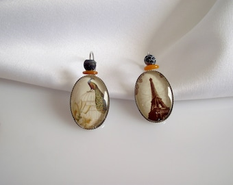 Earrings dissociated images cabochons retro vintage Paris