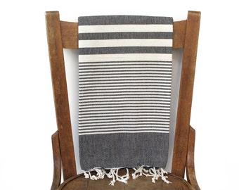 Werfen Sie Decke Bad Handtuch handgewebte natürlichen Baumwolle türkische Handtuch wickeln Spa Travel Handtuch Türkisch Strand Handtuch Decke schwarz / Creme PESTEMAL