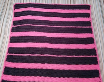 Gray and Pink Crochet Baby Blanket