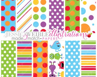 Monster Mongrels Cute Digital Papers Backgrounds for Invitations, Card Design, Scrapbooking, and Web Design