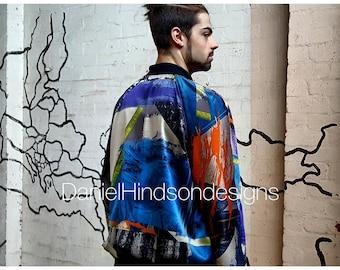 Rare brush-print raglan Jacket sz.32 waist