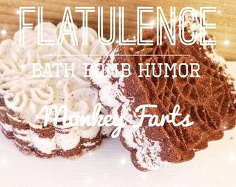 Flatulence Bath Bomb, Bath Bomb Humor, Monkey Farts Mooncake Bath Bomb,  Moon Cake Bath Bomb Vegan Bath Bomb, Cruelty Free Bath Bomb