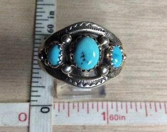 Vintage 925 Sterling Silver 7g Turquoise Southwest Design Ring Size 13.5g Signed SC Used