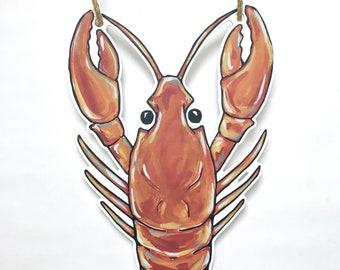 Crawfish Door Hanger, New Orleans Door Decor, Outdoor Art, Seafood Art, Lobster Door Hanger, New Orleans Art, Spring Decor, Home Malone