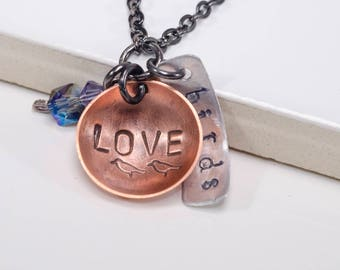 Domed Copper and Aluminum Dangle 'Love Birds' Necklace