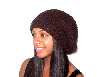 Crochet Slouchy Hat, Women, Men, Teen, Brown Tam,,