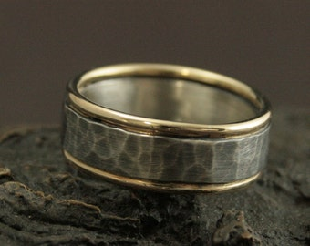 8mm Wide Band--Men's Wedding Band--Men's Wedding Ring--The Paragon Band--Two Tone Ring--Rustic Band--Rustic Ring--Rustic Wedding Ring
