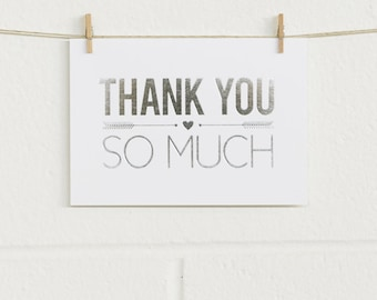 Thank You Cards 10pk, So Much Thanks, Silver Foil on White