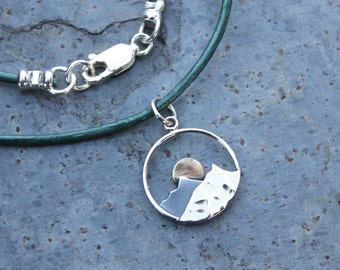 Mountain Sunset Necklace- sterling silver mountain & sun charm on deep green leather cord- other leather colors available-  free ship USA
