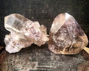 Rutile Quartz and Smoky Ruitlated Quartz with Chlorite Crystal Set