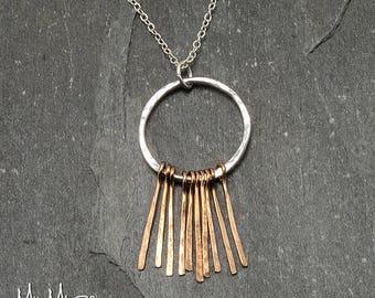 Fringe Necklace Silver, Boho Necklace, Unique Necklace, Circle Necklace, Layering Necklace, Long Necklace, Gold Fringe, Gift for Her