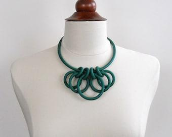 Emerald Green Textile Statement Necklace
