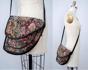 vintage leather purse / leather cross-body bag / floral tapestry purse