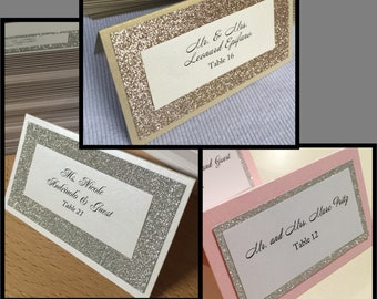 Glitter Place Cards - Any Color/Quantity
