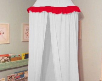 Canopy Playroom Tent Indoor Outdoor Tent For Kid 100% Cotton White with Red Frill