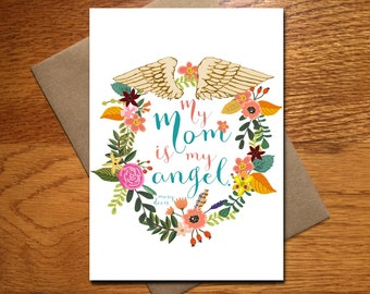 My Mom Is My Angel Card / Every Day Spirit / Mother's Day Card / Mother Daughter / Pretty Card For Mom / Watercolor Mother's Day Card