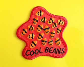 Cool Beans Patch, Funny Embroidered Patch, Iron On Patch, Sew On Jacket Patch, Cute Rucksack Patch, Baked Beans Patch, hello DODO Patch