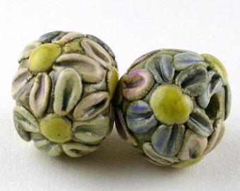 Multicolor Daisies Stoneware Ceramic Beads