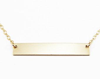 Gold Bar Necklace, Customized Nameplate Necklace, Personalized Bar Necklace,Rose Gold Bar Silver Bar Necklace, Name Bar Necklace, Custom Bar