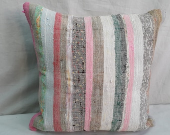 "Kilim Pillow, 16""×16""İnches, Decorative Pillow, Aztec Pillow, Turkish Kilim Pillow, Cushion Cover, Throw Pillow, Tribal Pillow, Boho, Bohem"
