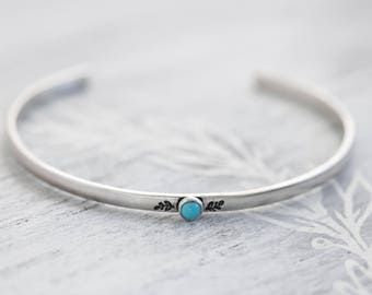 Thin Sterling Silver Turquoise Cuff Bracelet, Silver Turquoise Bangle, Botanical Jewelry, Fern Jewelry, Floral Cuff Bracelet, Sundance Style
