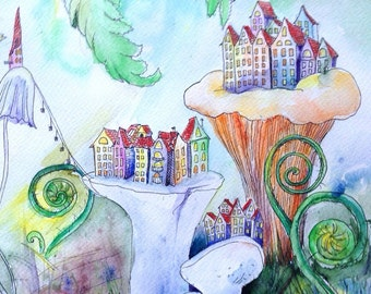 "Fern City (macro;) - original watercolor 10,6""x13,8"""