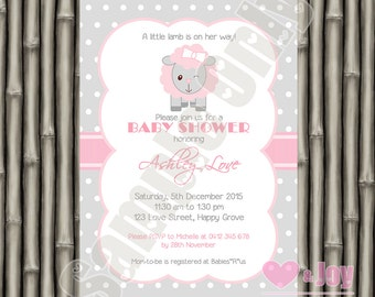Sheep, Lamb, Baby Shower Invitation, Sheep, Lamb, Baby Shower Invite, PRINTABLE