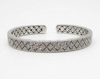 925 sterling silver - 1.00ctw genuine diamonds 8mm cuff bracelet - b1241