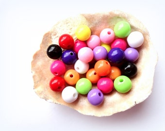 10 Mixed Colors Round Acrylic Beads Jewelry making supplies