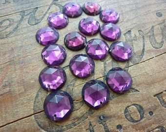 Vintage Two Hole Amethyst Color 18mm Glass Sew On (2)
