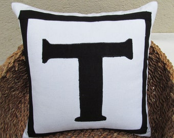 white monogram pillow cover with black letter 20 inch custom made monogrammed cushion