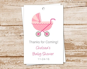 baby girl favor tags . PRINTABLE . baby carriage, stroller . baby shower . personalized . gift tags . digital . YOU PRINT