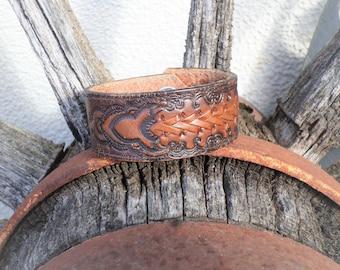 Rustic Western Tooled Leather Cuff Bracelet, Boho Cuff, Western Cuff, Cowgirl Cuff