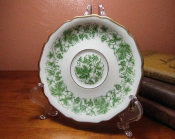 Small Vintage Decorative Green and White Plate
