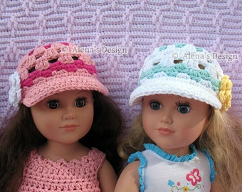 "Crochet Pattern 131 - Crochet Hat Pattern for 18 inch Doll - Crochet Doll Hat Patterns American Doll Doll's Outfit 18"" Doll Crochet Hat"