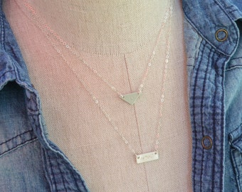 Tiny SILVER Bar and Triangle Layered Necklace Set, Minimalist Personalized Geometric Initial necklaces, Triangle Nameplate Layering Jewelry