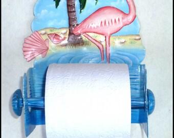 Toilet Paper Holder, Tropical Bathroom Decor, Tropical Decor, Painted Metal Flamingo, Toilet Tissue Holder, Bathroom Decor, Metal Art, 261