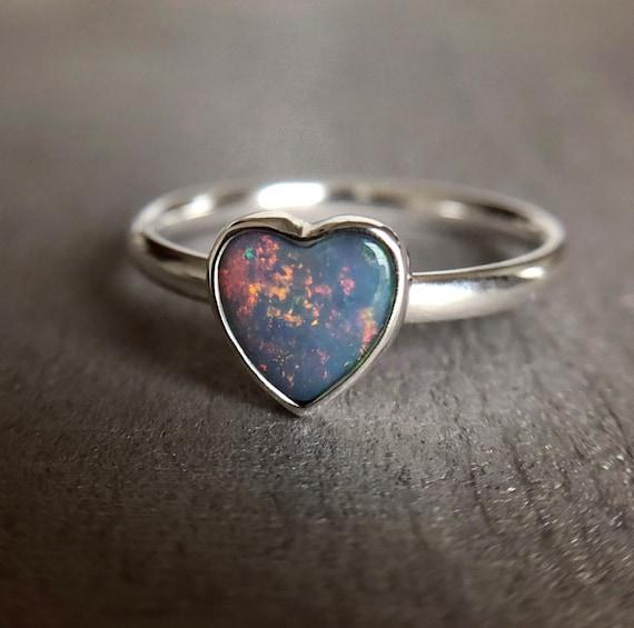 Sterling silver ring with Australian opal heart SZ 7
