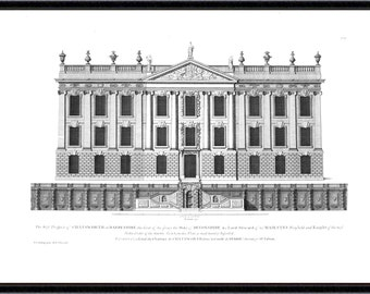 Chatsworth House architectural antique reproduction print architecture print vintage architecture print art