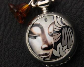 Buddha Necklace,  Buddha pocket watch, 2222M