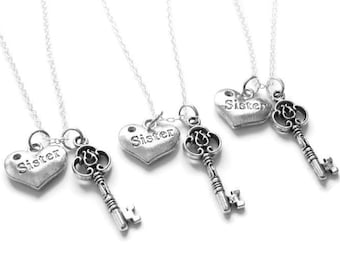 3  Sisters Hold The Key To My Heart Necklaces