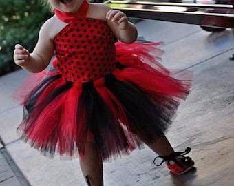 Tutu Baby Toddler Red & Black Polka Dot Tutu Outfit Costume Set 4 pc, Tutu, Stylish Top, Baby Shoes and Headband