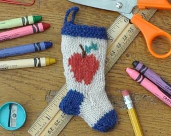 Teachers Apple Hand Knit Christmas Stocking Ornament