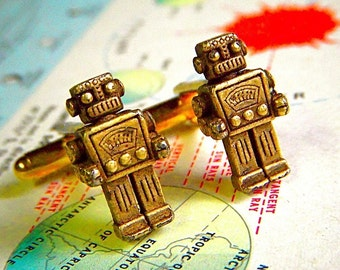 Black Friday Robot Cufflinks Rustic Brass Cuff Links Cosmic Firefly Original Steampunk Men's Accessories & Gifts Antique Toy Robots Shape
