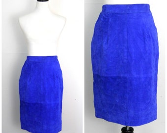 Vintage Blue Suede Pencil Skirt Size Small | 1980s • Royal Blue Fitted High-Waisted Mini Hair Metal