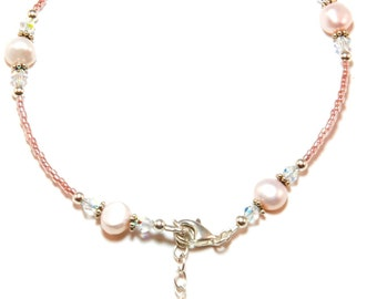 Pink Freshwater Pearl Sterling Silver Ankle Bracelet