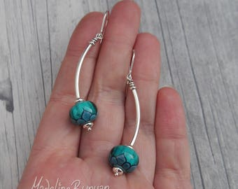 Teal and Turquoise Lotus lampwork glass and curved silver drop earrings Sterling Silver SRA.